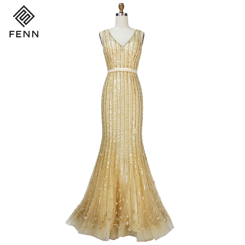 Luxury Handmade Beaded Ceremony Long Gown 2019 Formal Evening Dress Gold