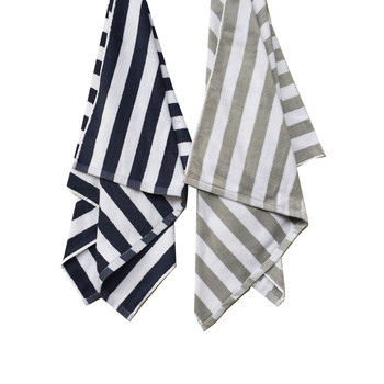 Custom color dyed printed beach towel cotton grey and white striped beach towels