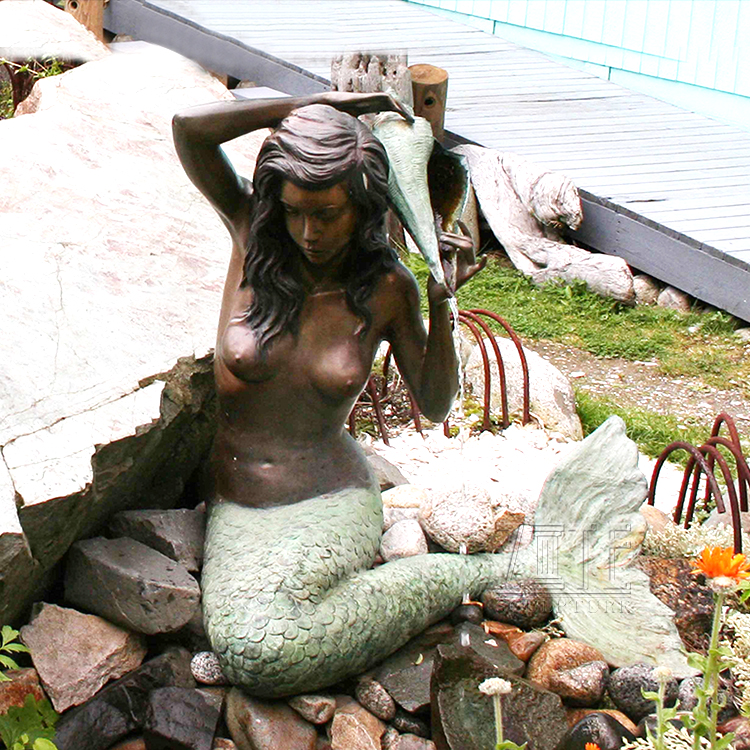 Outdoor Garden Life Size bronze sitting mermaid statue sculpture