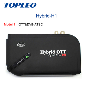 Topleo Best quality Hybrid-H1 RAM 1GB Amlogic S905D Quad Core android 7.1 dvb S2 ATSC T2 hybrid ott tv box