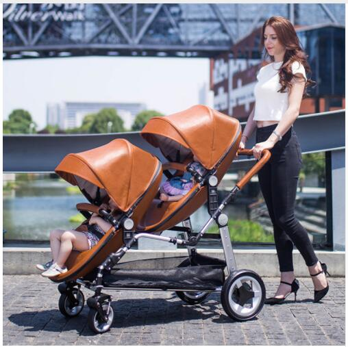 Free shipping Twin baby stroller luxury high landscape eggshell double pram folding light kid carriage semaco фото