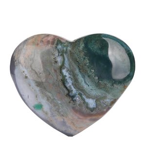 hand carved heart shaped natural ocean jasper quartz crystal rock stone ashtray ornament for home decoration