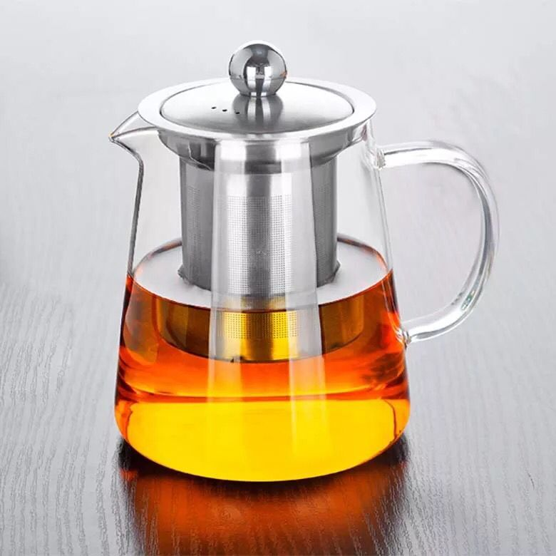 Heat Resistant Clear Glass Teapot Stainless Steel Infuser Flower Tea Pot