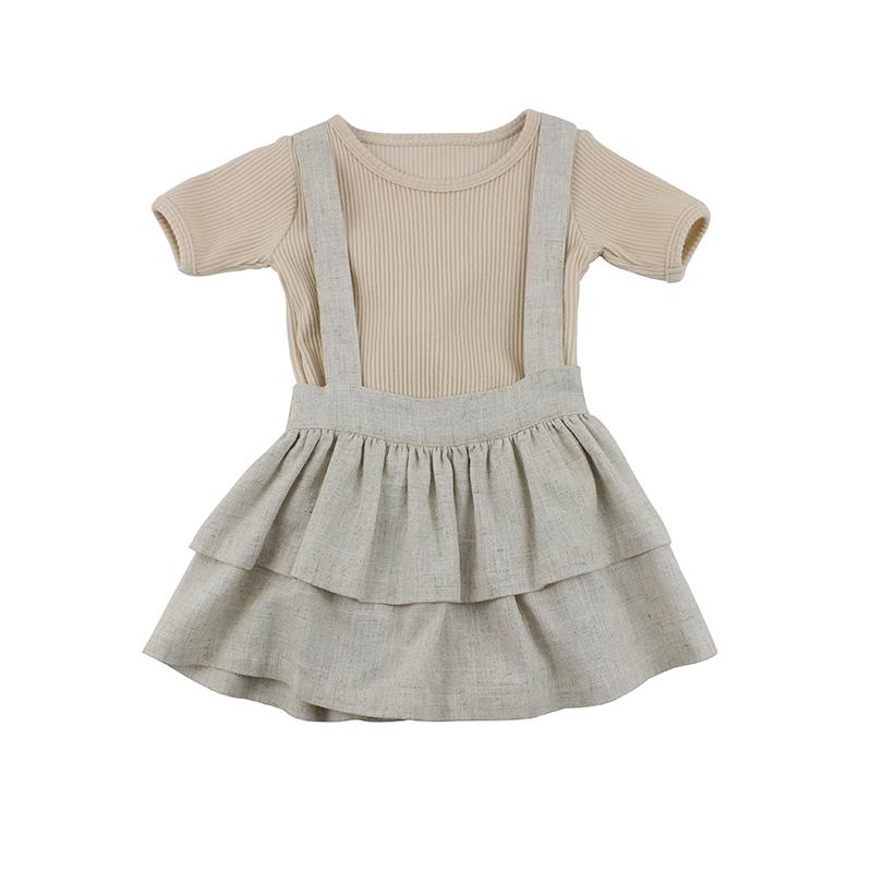 efdc7121c057cf Zomer Baby meisjes kids jurken outfits 2 stuk kleding set plain jarretel  rokken geribbelde romper set