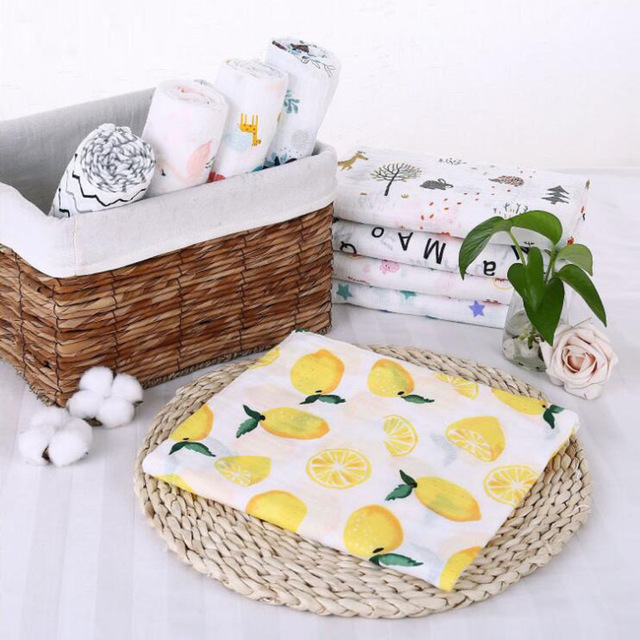 A 100% cotton bamboo baby Soft Blankets Colorful organic muslin swaddle big diaper Blanket Infant Wrap Print Newborn Props