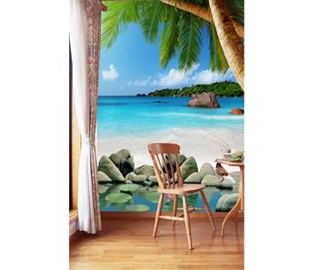 3d Wallpaper Biru Laut Pantai Pohon Kelapa Dinding Kertas