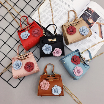 Children Bag Kids Girl Pu Leather Handbags Sling Shoulder Bag Toddler Girl Mini Purse Flowers Cross Body Bags Various Colors