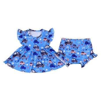 Wholesale Children Boutique Clothing Summer Style Kids Car Printed 2 Pieces Outfits Girls Clothing Sets