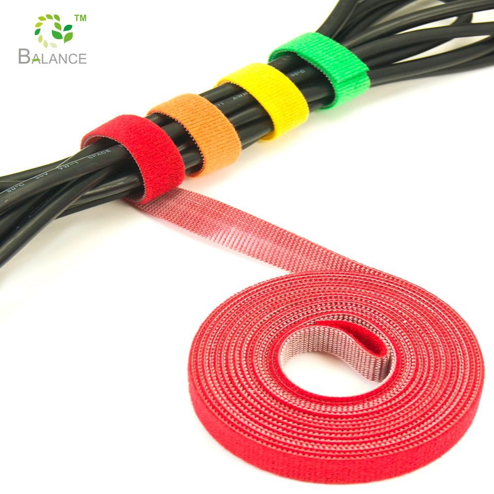 Многоразовый Крепежный ремень красочные кабельные стяжки крюк и петля окантовка галстук