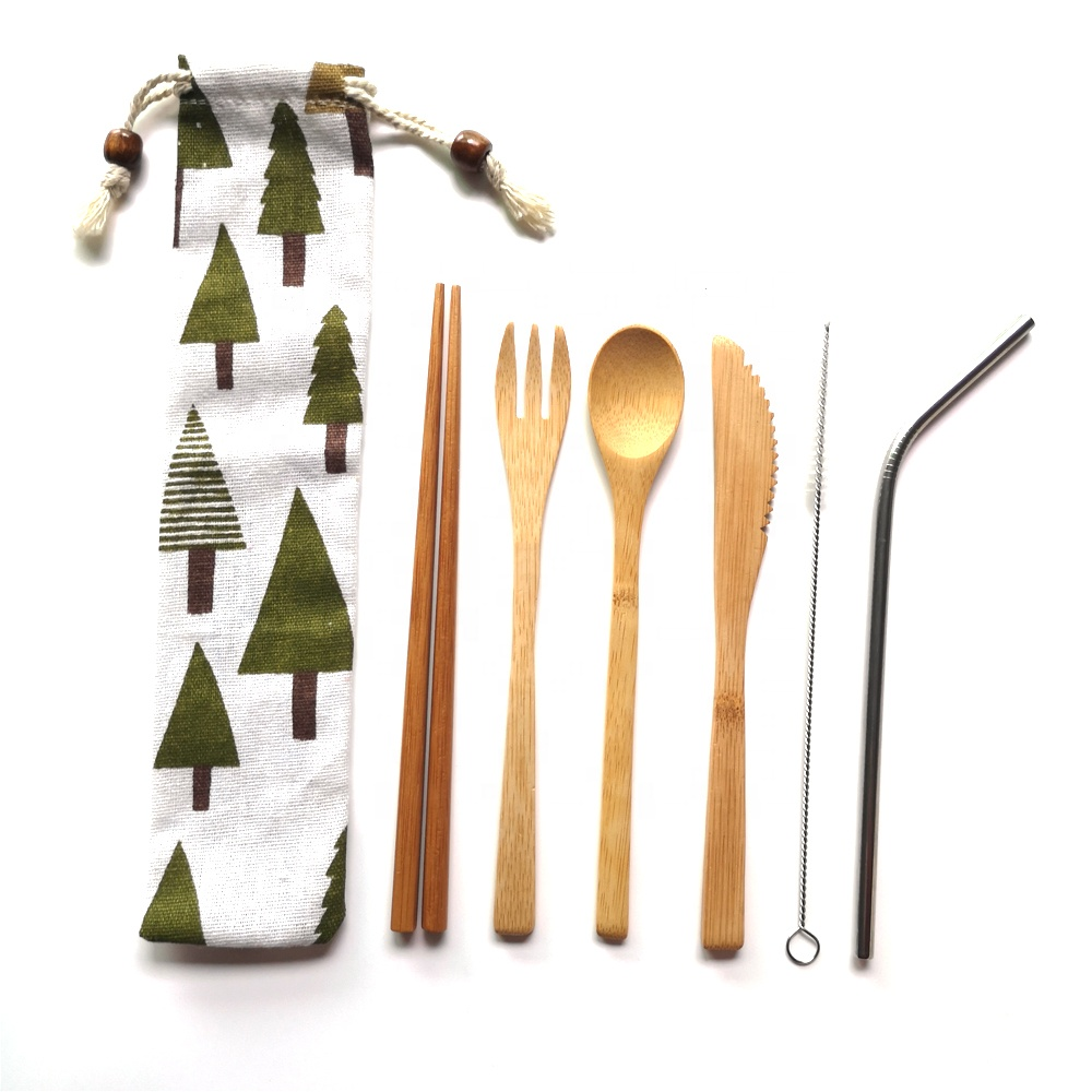 Travel Utensils Include Knife,Fork,Spoon,Chopsticks and Stainless Straw bamboo cutlery kit фото