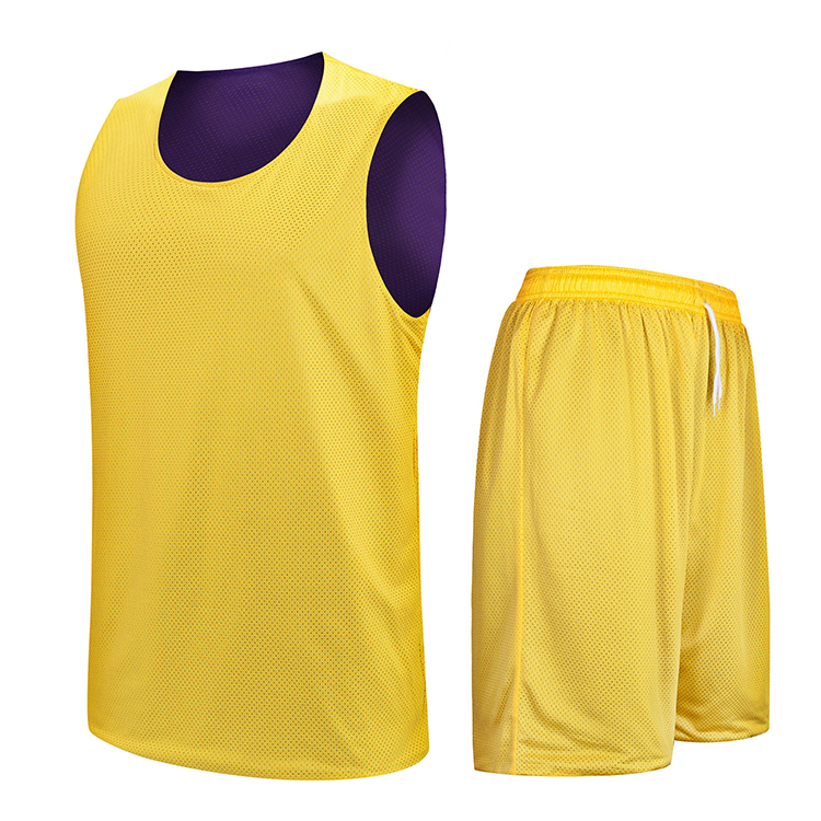 Reversible basketball jersey uniform design farbe gelb lila neue stil basketball jersey aufforderung brief für basketball