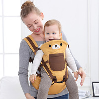 Baby Wrap Carrier with Hip Seat Windproof Cap Convertible Backpack Cotton Sling for Infants