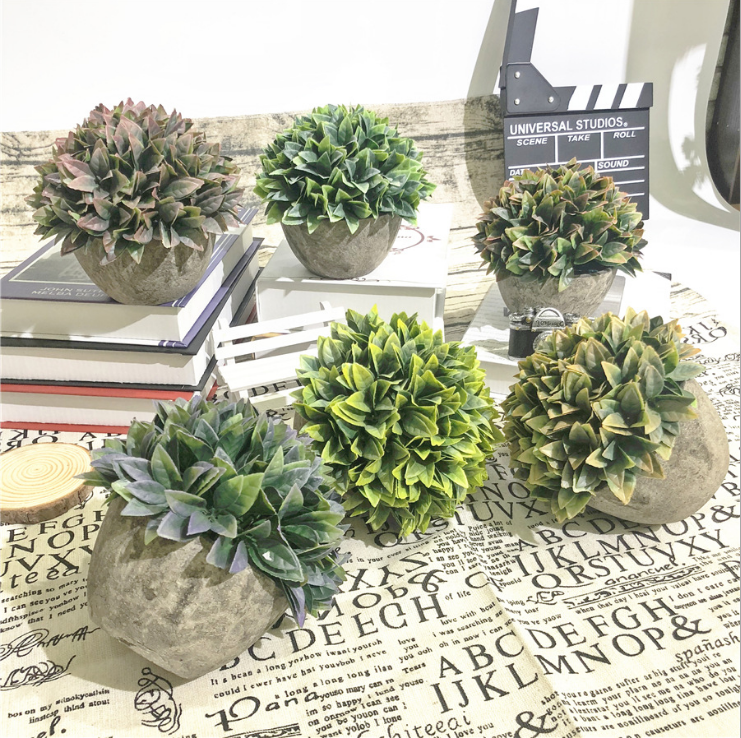 Set van 3 Kunstmatige Plastic Mini Planten in grijs Pot