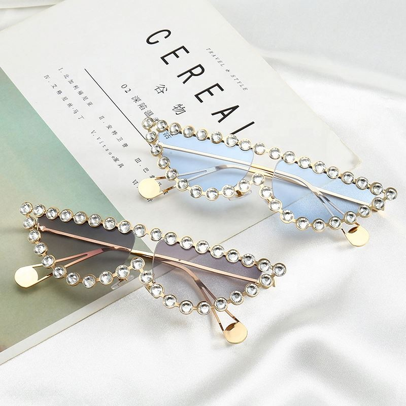 Custom Fashion Women Diamond Designer Rimless Sunglasses Sun Glasses 2019, N/a
