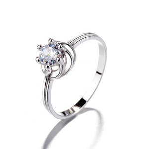 925 Pure Silver High Quality Latest One Stone Wedding Ring Designs