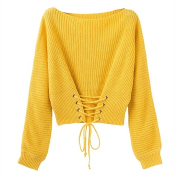 Women's Wide Collar Long Sleeve Loose knit Pullover Sweater With Cross Band At Hem