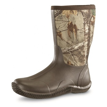 Cheap 5mm Camo Men's Waterproof Heated Neoprene Mid Calf Rubber Hunting Boots