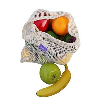 Ginzeal Lightweight Drawstring Washable Organic Produce Cotton Net Mesh Bag