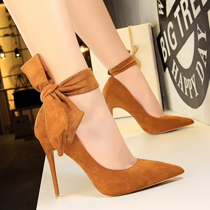 XL0922 Fashion Ladies Shoes Online Pointy Toe High Heel Stiletto Big Bow Pumps