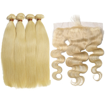 Wholesale 613 Blonde Hair Weave Bundles Virgin Brazilian Human Hair 613 Bundles With HD lace Frontal Closure