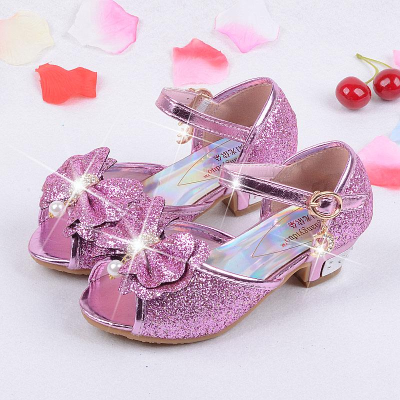 acef23397 As crianças Se Vestem Sapatos de Salto Alto Do Casamento Sapatos de  Lantejoulas Sandálias Princesa Meninas