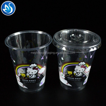 Direct factory wholesale 16oz 450ml Disposable PET plastic transparent clear cup with lid