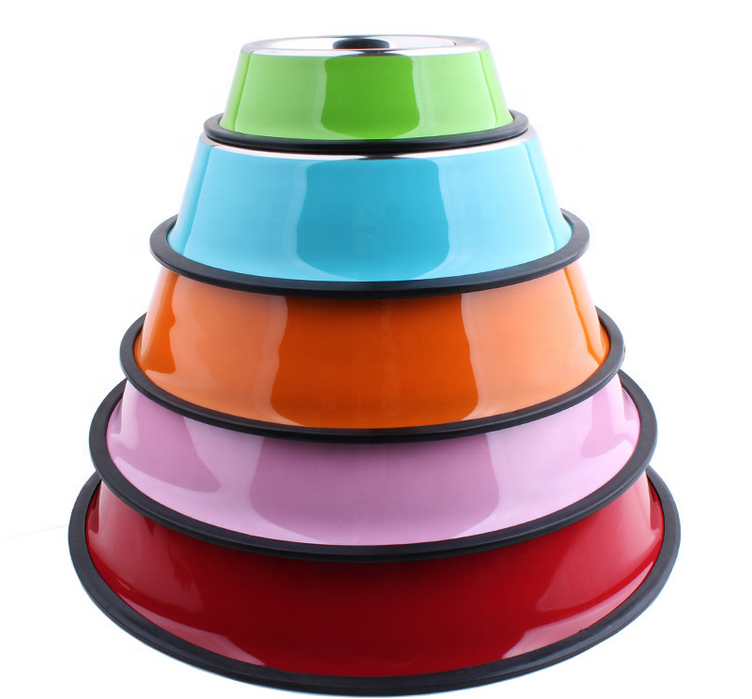 Hot sale color printed rubber bottom Metal Stainless Steel Pet Dish/ Pet Feeder/ Dog Bowl