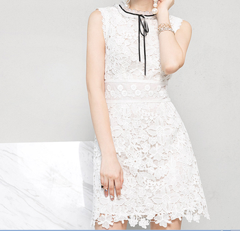 women casual round neck short sleeve bodycon lace short dress OEM/ODM guangzhou manufacturer