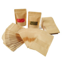 Zip Small Paper Bag Paper with Window for tea coffee bean seeds ect Biodegradable tea bag stand up pouch kraft paper bag