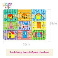 Amazon Hot Selling Wholesale Wooden Preschool Kids Educational Toys ,Children Sensory Board , Lock Busy Board For Toddler
