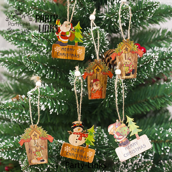 Yiwu Supply Natural Color Wooden Laser Cut Christmas Decorations