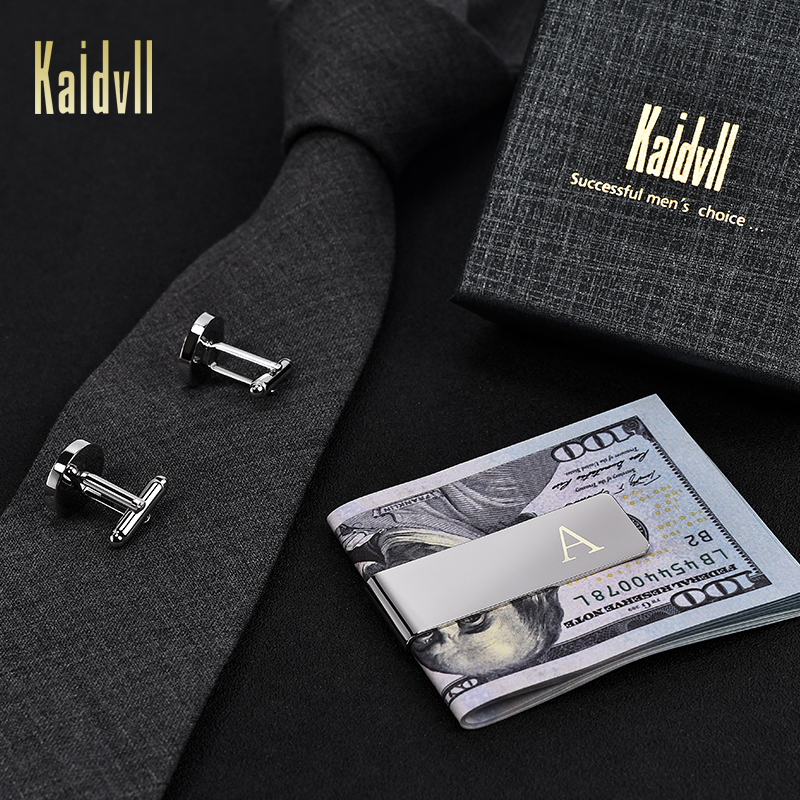 Kaidvll Stainless Steel Engraved Initial Cufflinks and Tie Clip Bar Set Alphabet Letter with Gift Box A-Z