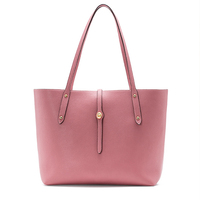 custom fashion pink tote ladies shopper bags simple design no label women pu leather handbag
