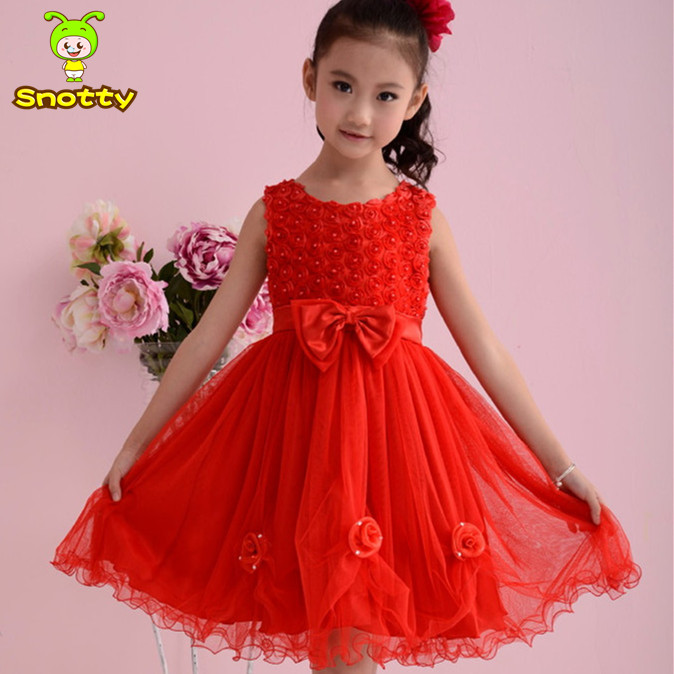 600fd7b2b Wholesale Chinese Red Bow Knot Party Wear Dresses For Girls Of 2 6 ...
