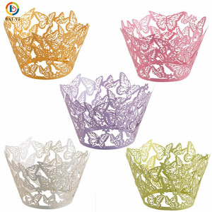Laser Cut Butterfly Cupcake Wrapper Muffin Paper Cup Cake Wedding Gift Box Birthday Party Favor Baby Shower Wedding Decor