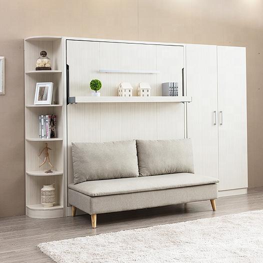 Компактный белый вертикальный раскладной диван-кровать с механизмом Мерфи