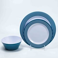 American western style stripe blue plastic tableware melamine dinner ware set with bowl plate