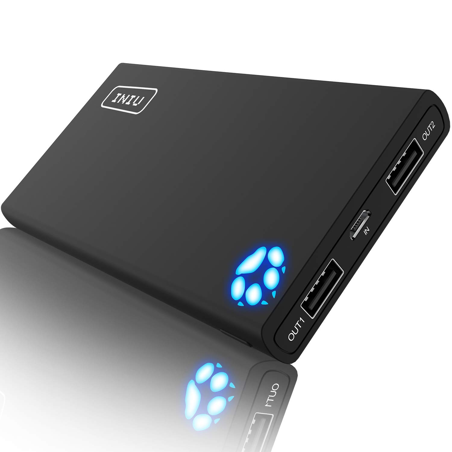 INIU 10000 mAh Tragbare schnelle Ladegerät Power Bank 2 USB Ports mit Taschenlampe Ultra Compact Slim Batterie Pack