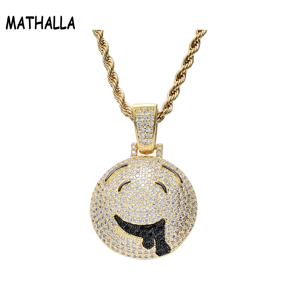 Newest Cute Drooly Emoji Necklace Collier Men's Gold Plated Hiphop Jewelry Iced Out Zircon Stone Pendant Box Packaging фото