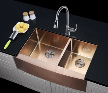 US hot sale custom size Double Bowl Farmhouse Stainless Steel Kitchen Apron Front Sink