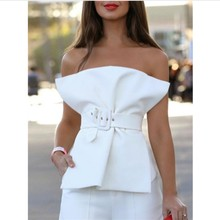 Vrouwen <span class=keywords><strong>Blouses</strong></span> Tops <span class=keywords><strong>Zomer</strong></span> Sexy met Taille Riem Off Shoulder Backless Rits Street Fashion Wit Zwart Effen Korte Shirts 2019
