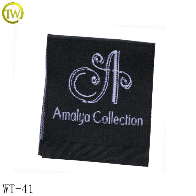 Fashion black garment woven tag printing logo endfold neck label for T-shirt фото