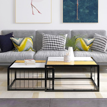 Contemporary Space Saving Nesting MDF Living Room Set di tavolini da salotto con gambe in metallo nero