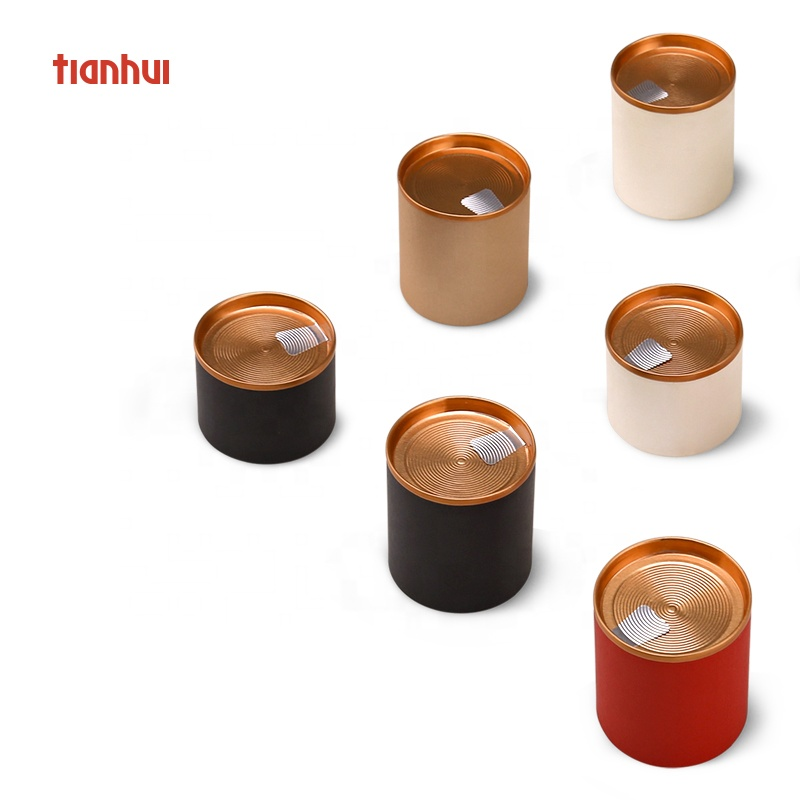 Tianhui Small Easy Peel Off Lid Paper Canister Packaging Tea Box