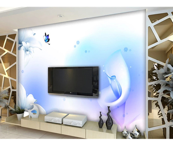 Digital Printing Blue Butterfly And Lily Wallpaper Wall Murals India Buy 3d Wall Muralantique Wall Muralssimple Scenery Wallpaper Wall Murals