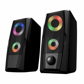 Rainbow backlight 2.0 channel multimedia usb 2.0 desktop computer speaker with Metallic Grid