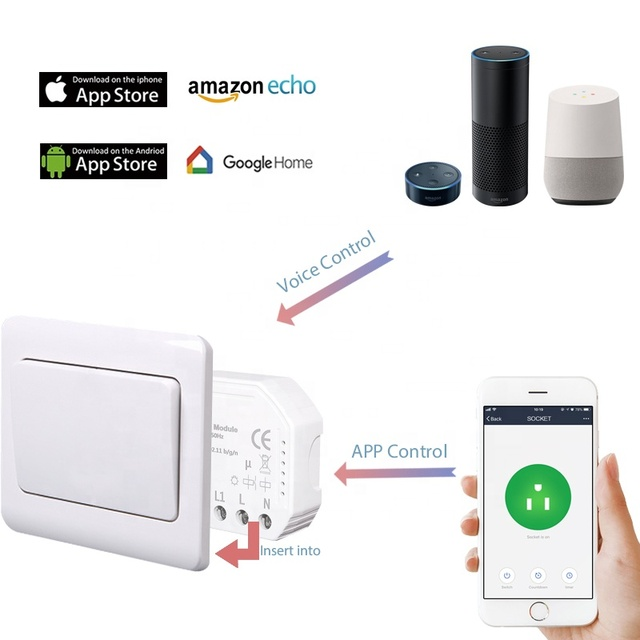 Smart Home Automation Tuya App Wireless Wifi Smart Switch Controller Eu  Compatible With Alexa Google Home - Buy Wifi Smart Switch,Wifi