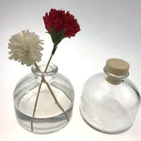 Wholesale New Design Round Clear Aroma Diffuser Bottle With Concrete Cememt Cap And Black Reed/Sticks