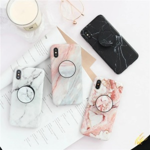 Drop shipping low MOQ fashion marble mobile phone case with pops phone socket holder for iphone6 6s 6plus 7 8 Plus X Xr Xs Max