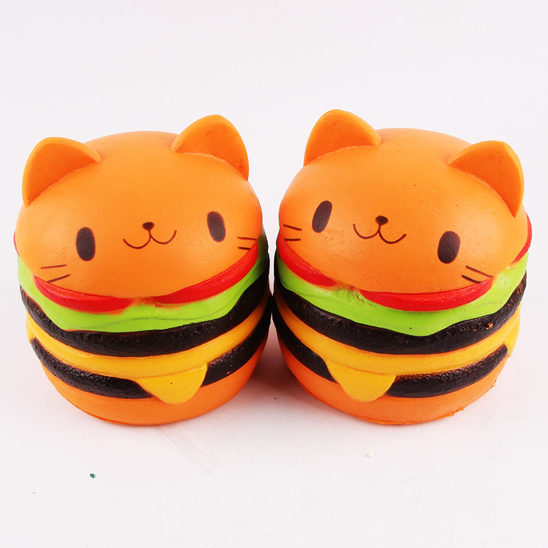 PU Foam Squeeze Eco Friendly Non Toxic Hamburger Kawaii Cat Scented Kids Squishy <strong>Toys</strong>
